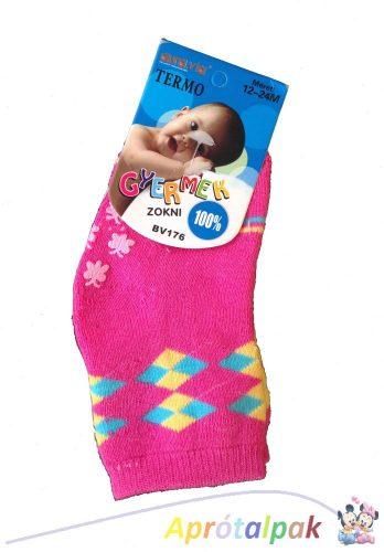 Vastag lányka csúszásgátlós zokni 0-12hó - pink