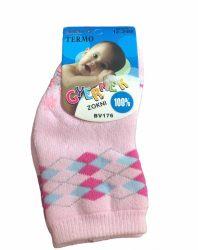 Vastag lányka csúszásgátlós zokni 0-12hó - rózsaszín