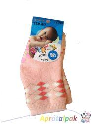 Vastag lányka csúszásgátlós zokni 0-12hó - barack
